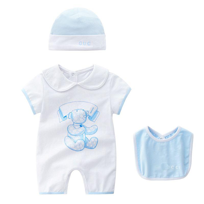 Retail baby boys girls rompers new baby Jumpsuits kids climbing romper short sleeve cartoon printed summer romper + hat + bibs