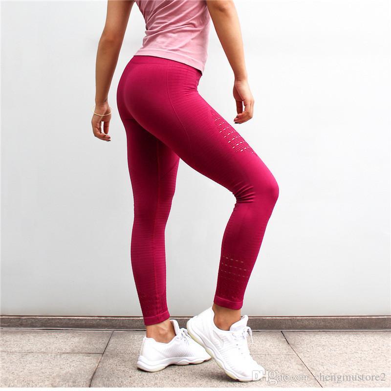 Alta cintura fina oco calças de yoga moda novas calças de lazer e esporte mulheres respirável confortáveis calças de fitness