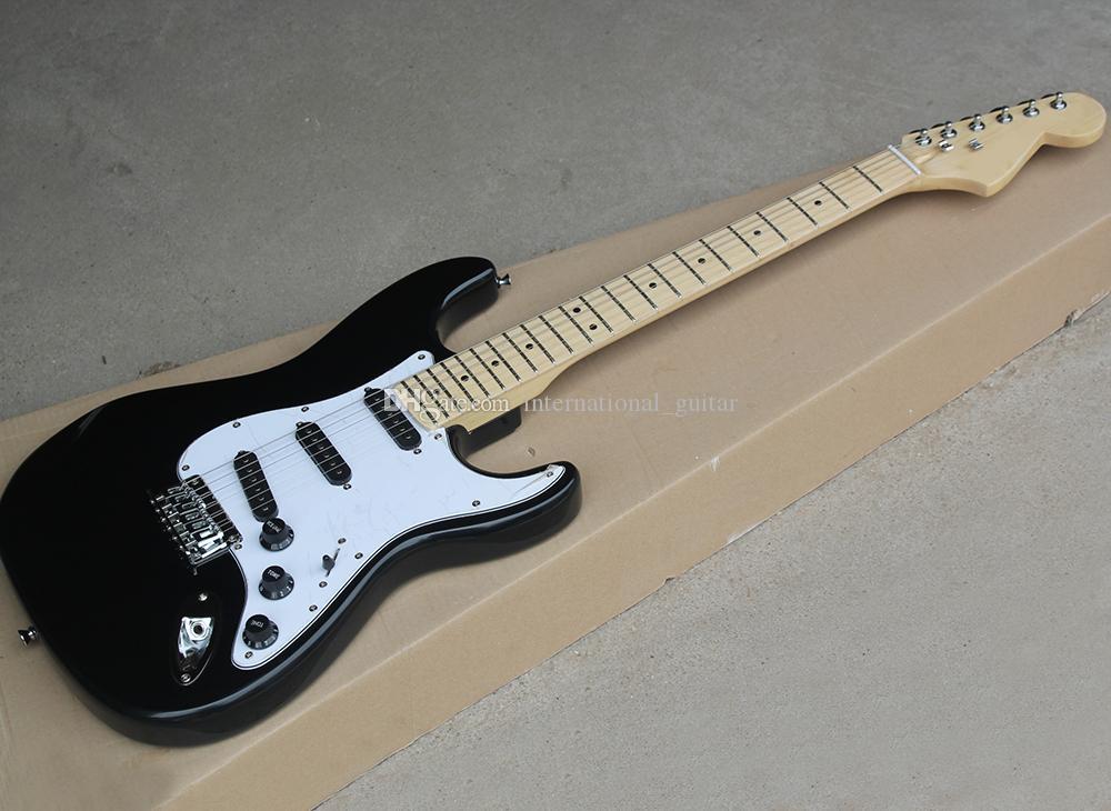 Maple TUŞE, Beyaz Pickguard, Siyah Pikaplar / Düğme, Arz özelleştirme Servisi Fabrika Toptan Siyah Elektro Gitar