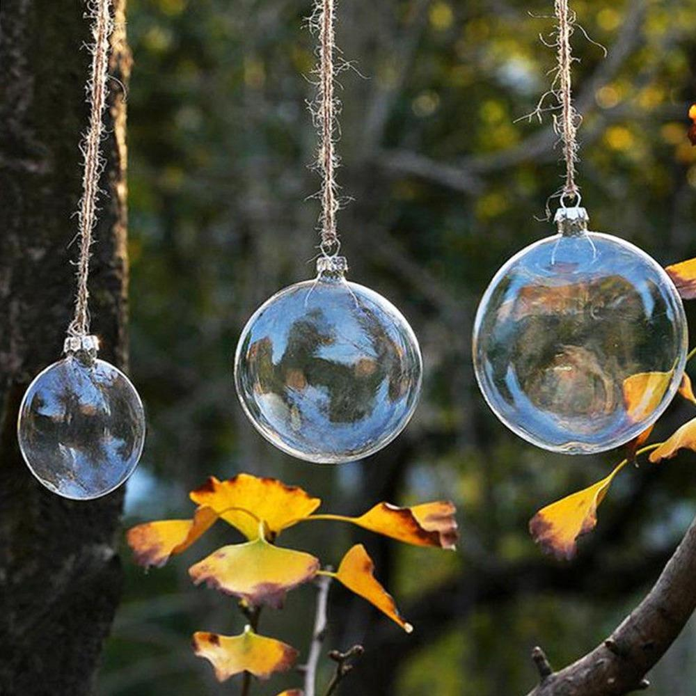 6pcs Christmas Glass Ball Decoration Clear Glass Bauble Xmas Ornament Pendant Wedding DIY party Supply Event Round Memory ball