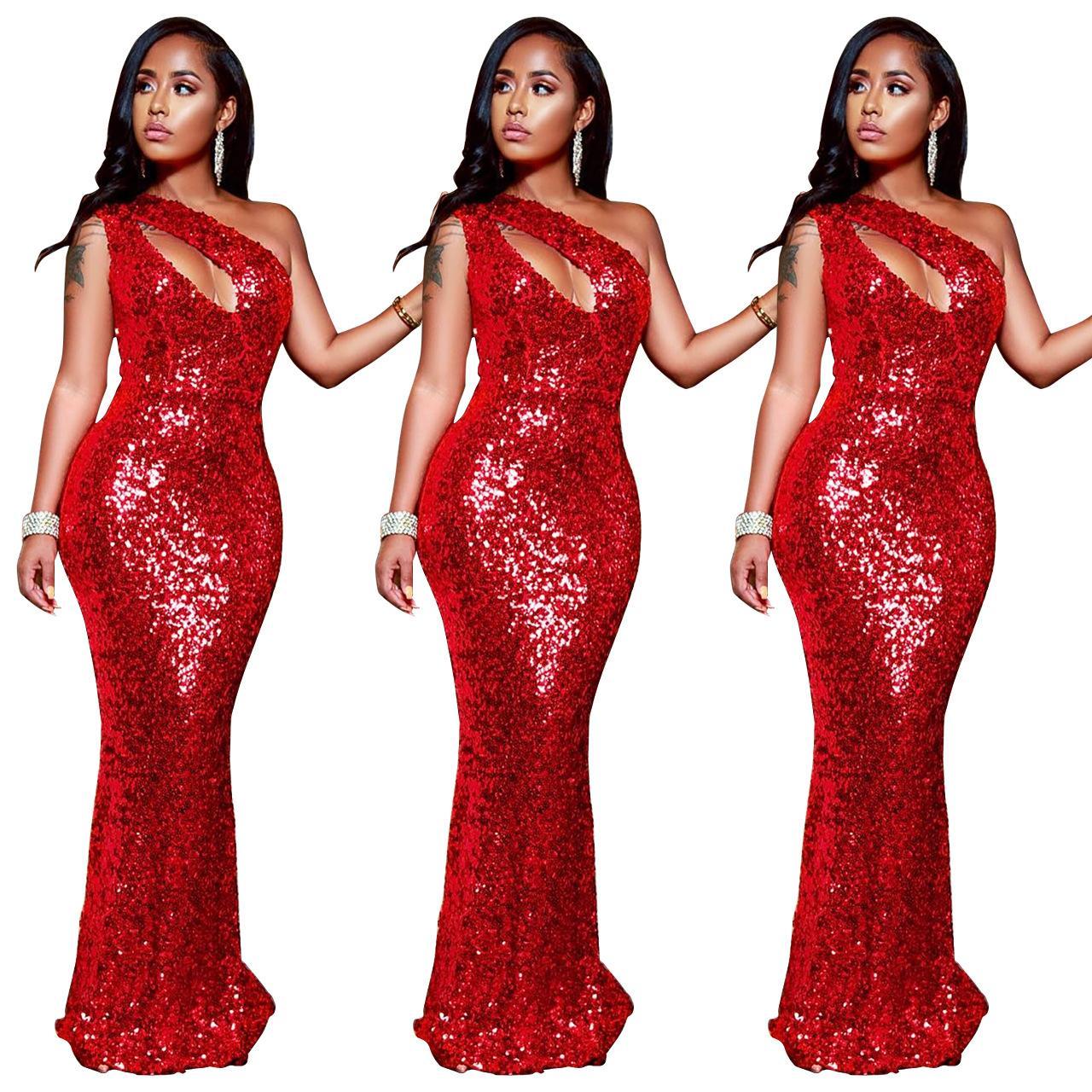 High-end Kırmızı Pullu Akşam Parti Maxi Uzun Elbise kadın Seksi Kolsuz Eğik Omuz Ince Bodycon Elbise Vestido Oymak