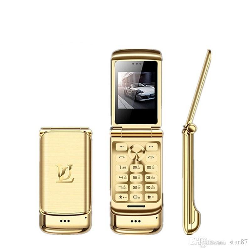 Original Ulcool V9 Luxury Phone Dual Sim Card Super Mini Flip Metal Cell Phone With 1.54 inch FM MP3 Bluetooth Dialer Anti-lost Mobile Phone