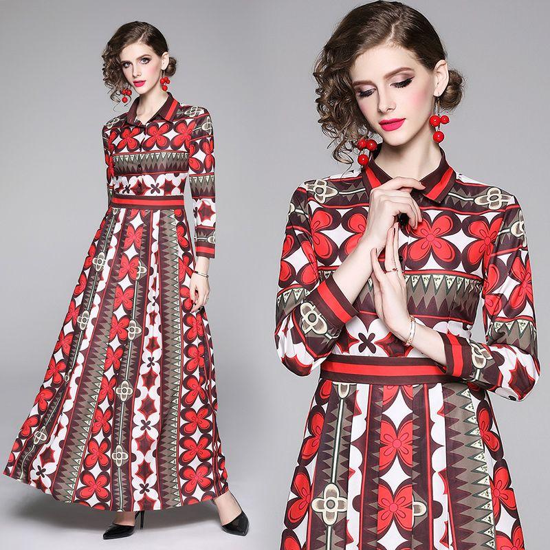 Manga larga de la vendimia ocasional de la camisa de las mujeres vestidos de la pista de la impresión floral partido de las señoras de lujo Maxi vestido para el otoño del resorte más el tamaño