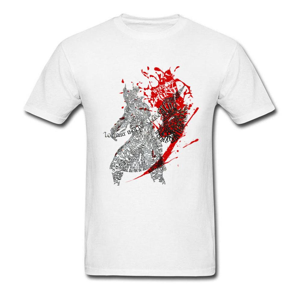 BloodBorne T Shirts for Men Typography Designer Tshirt Welcome To The Hunt Marvel Summer Tops Latest T-Shirt 100% Cotton Fabric