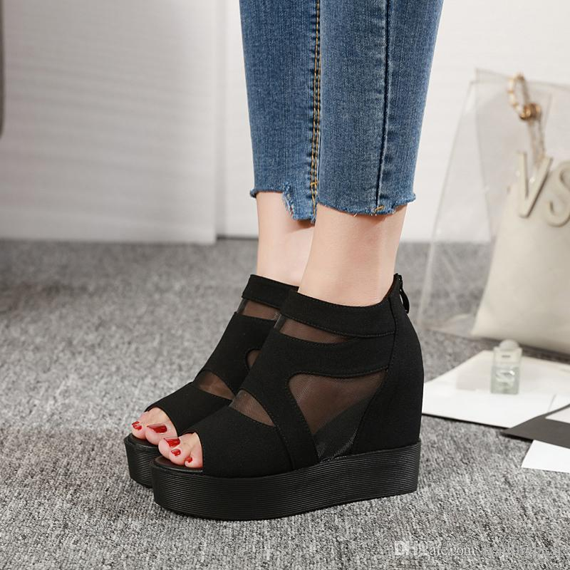 NEWEST ladies sexy wedges boots sandals fashion wedges heel 3 colors new Autumn shoes