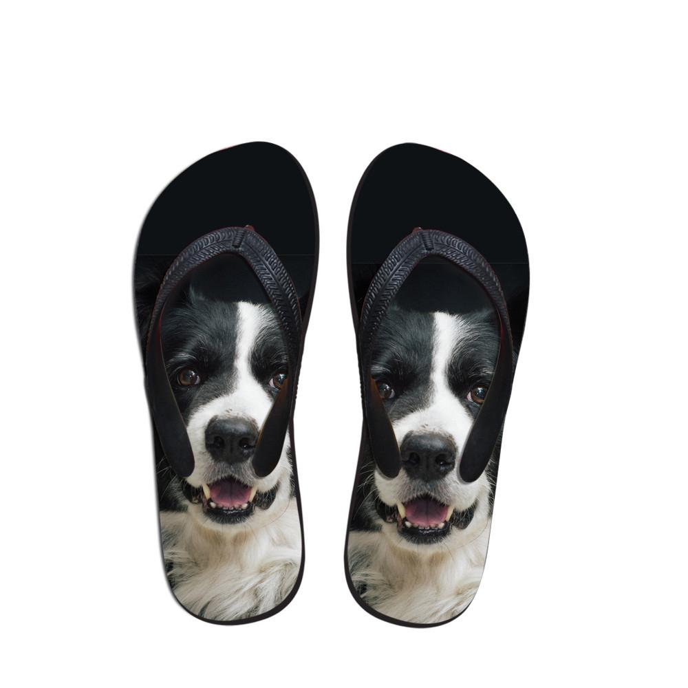 Customized Summer Casual Men's Flip Flops Fashion 3D Animal Dogs Print Flat Sandals Shoes For Men Flip Flop Beach Sandals Shoes