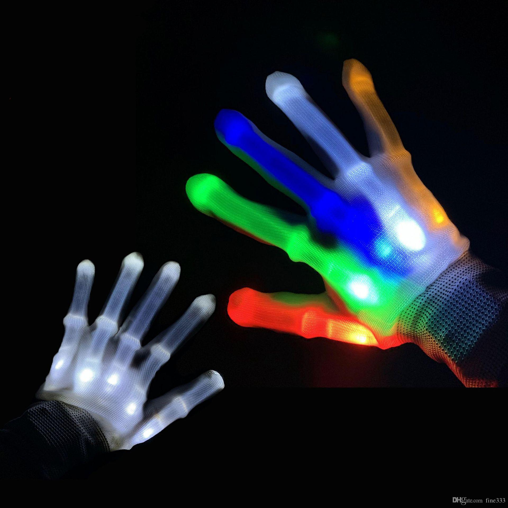 LED Flashing Gloves Glow Light Up Finger Lighting Dance Party Decoration Glow Party Supplies Choreography Props Christmas