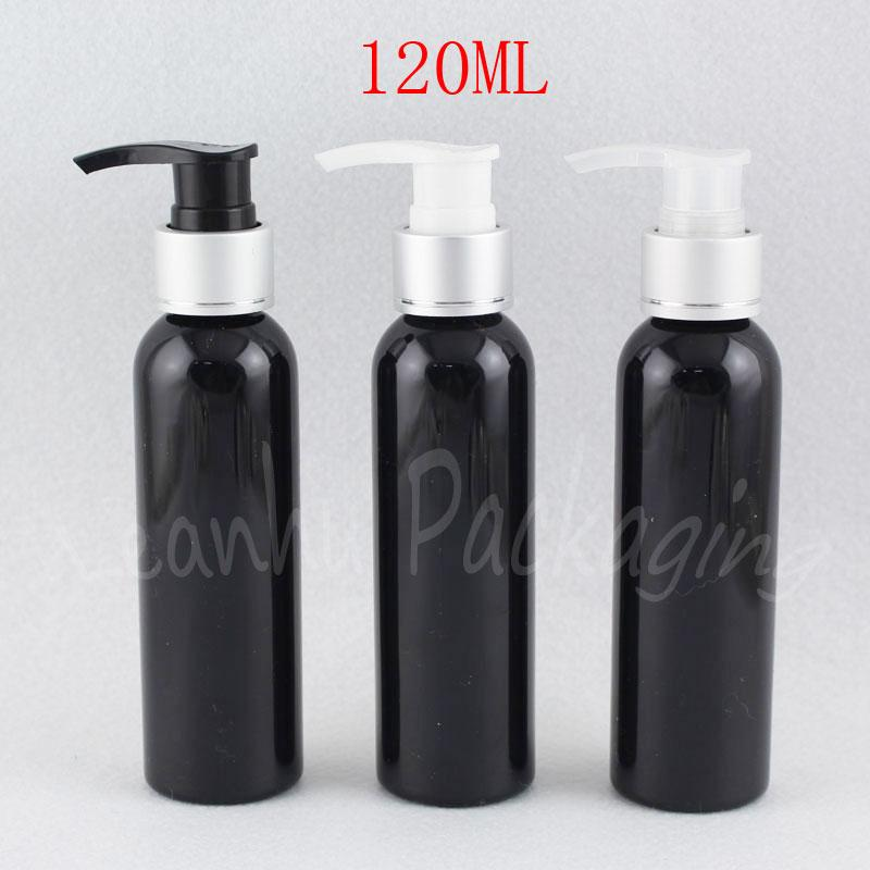 120ML Black Plastic Bottle With Silver Lotion Pump , 120CC Shower Gel / Lotion Packaging Bottle , Empty Cosmetic Container