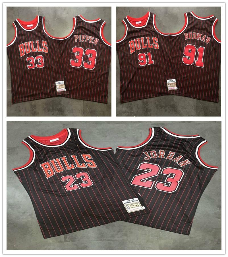 ChicagoBullsMEN Michael Jor dan Scottie Pippen Dennis Rodman 1997-1998 HartholzClassics Seele Swingman Throwback Jersey