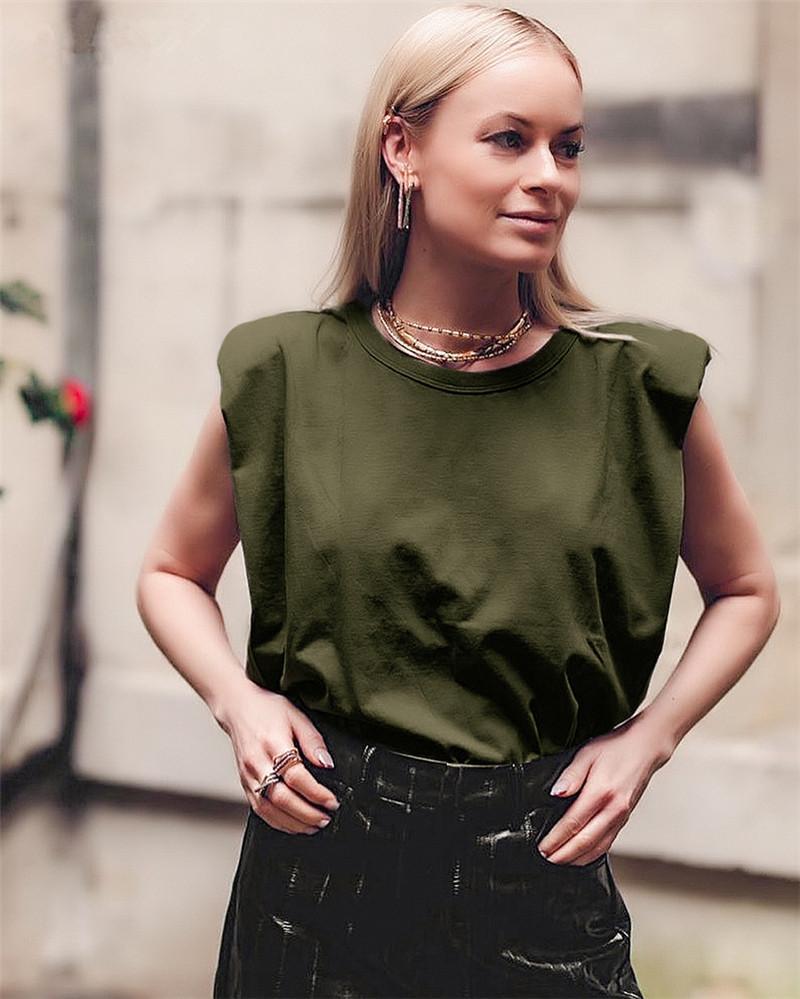 Женщины без рукавов Дизайнер Tshirts моды сплошной цвет на шее рыхлой Лето тройники 20SS Новые Женщины Повседневная одежда
