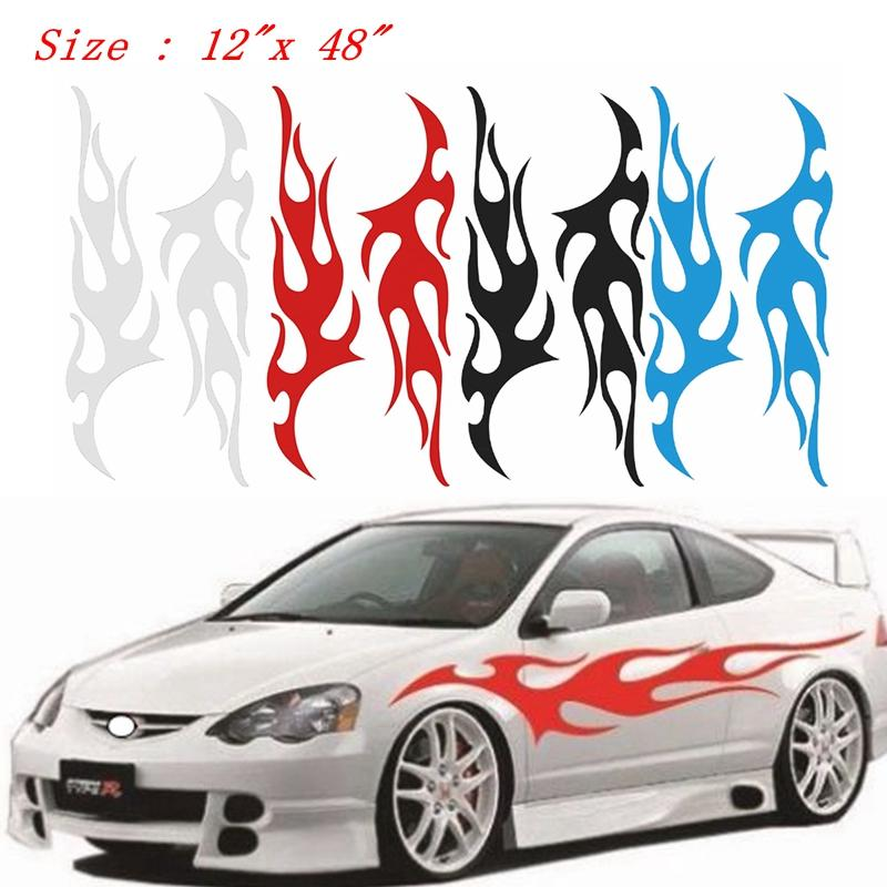 """Flame Auto Graphic Decal Flaming Body Car Truck Vinyl Flames v100 Large 12 """"x 48"""""""