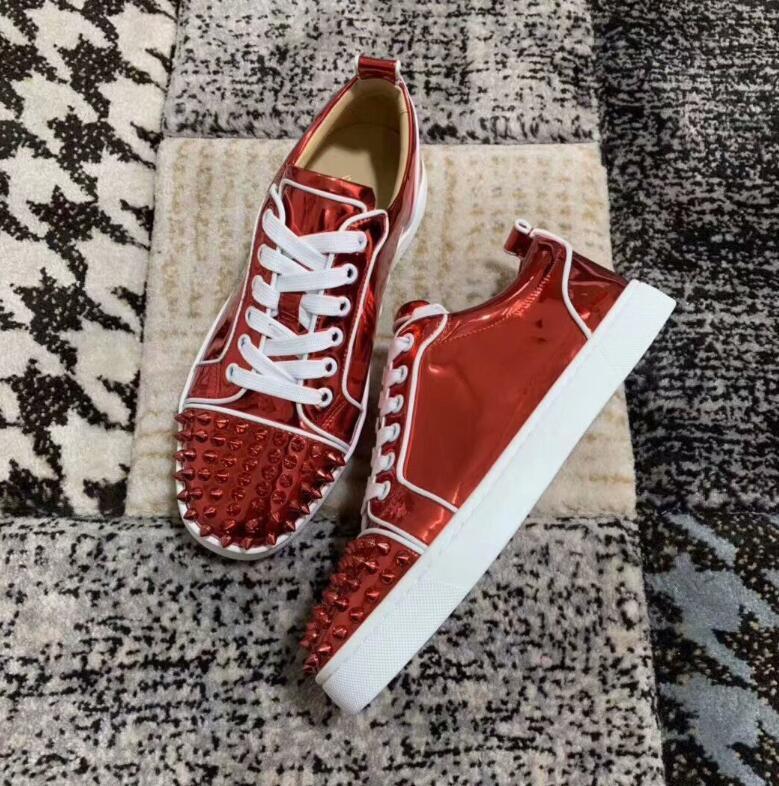 Patentes casamento inferior Red Party Homens e Mulheres Rivet Couro Sneakers Low Cut Suede pico de couro calça o tamanho 35-46
