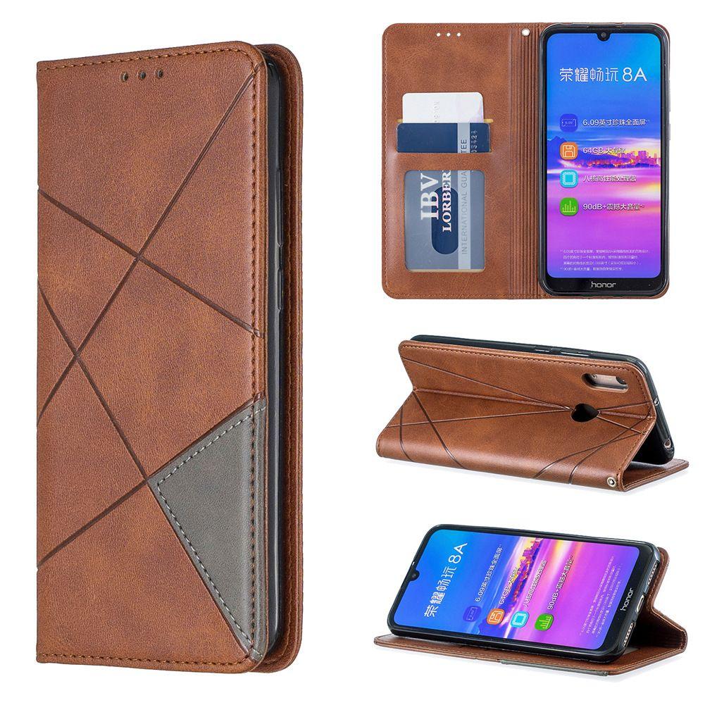 Çubuğu Telefon Kılıfı için Huawei Y6 Cüzdan Kart Sahibi Kayış Zincir Delik ile 2019 Prizmatik Tasarım (modele: Y6-2019)