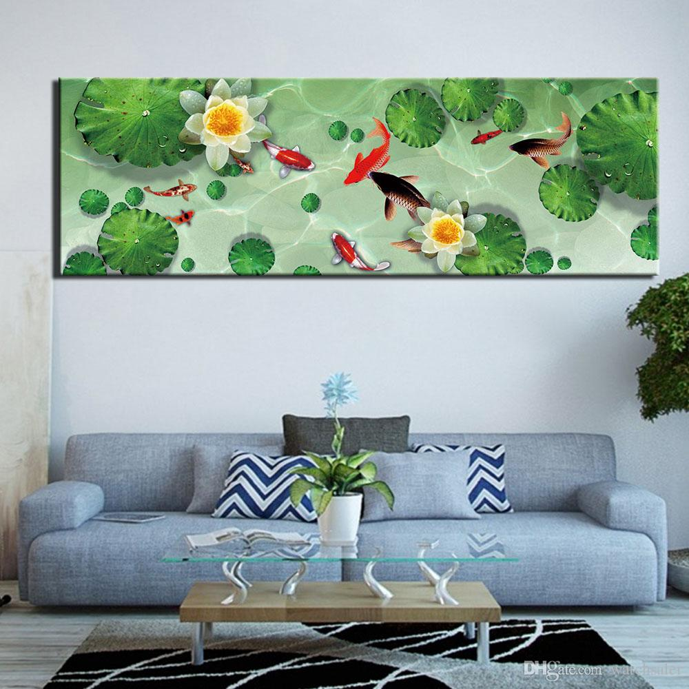 2019 Home Decor Canvas Painting Fish Lotus Picture Wall Art Prints Modern Modular Cuadros Poster For Living Room No Frame From Watchsaler 27 73