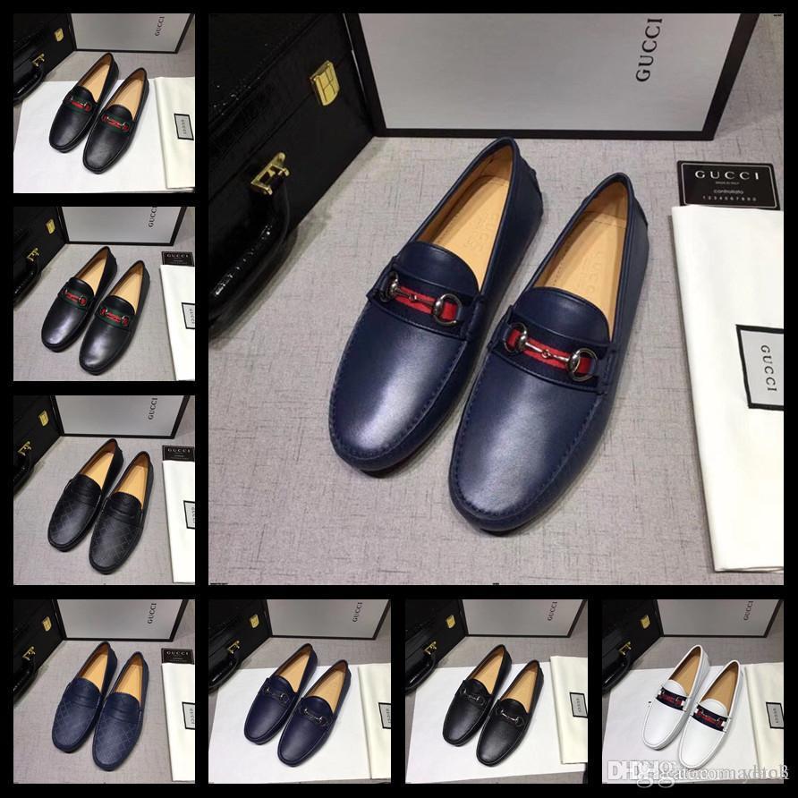 20ss ITALIAN MEN CASUAL SHOES LUXURY BRANDS LOAFERS echtes Leder-Entwerfer-Kleid-Schuhe MEN Qualität plus Größen Mokassins YEYE3