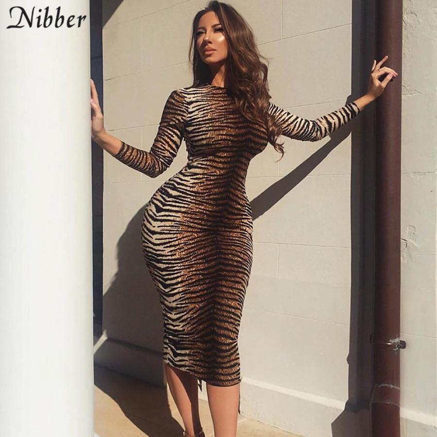 Nibber Herbst Winter heißes Leopard Party-Nacht Frauen 2019Elegant sexy Club bodycon midi Stretch dünne grundlegende Kleid mujer MX200518