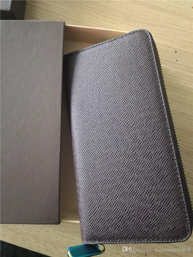 Venta caliente de la exportación Nuevo estilo Cartera para hombre Diseñador de la marca Cuero genuino de lujo Monederos largos Titulares de tarjetas de alta calidad Carteras famosas con caja