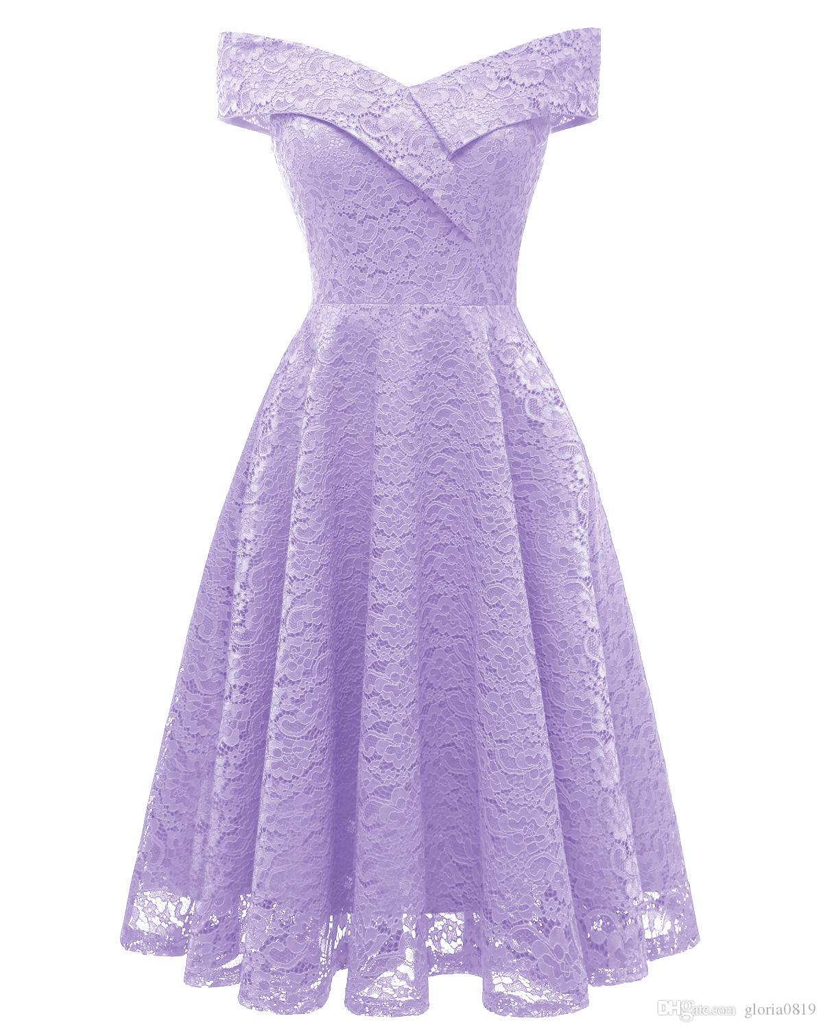 2019 Purple Lavender Women Dress Off Shoulder 2019 Cap Sleeves Knee Length  V Neck Midi Lace Skater Dresses For Women Prom Party Birthday Holiday From