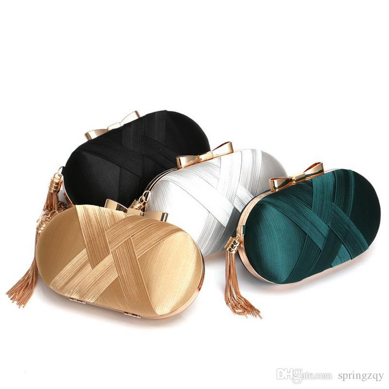 Новый шелковый вечерняя сумка Европейский и американский высокого класса банкетные сумки клатч кисточкой вечерняя сумка