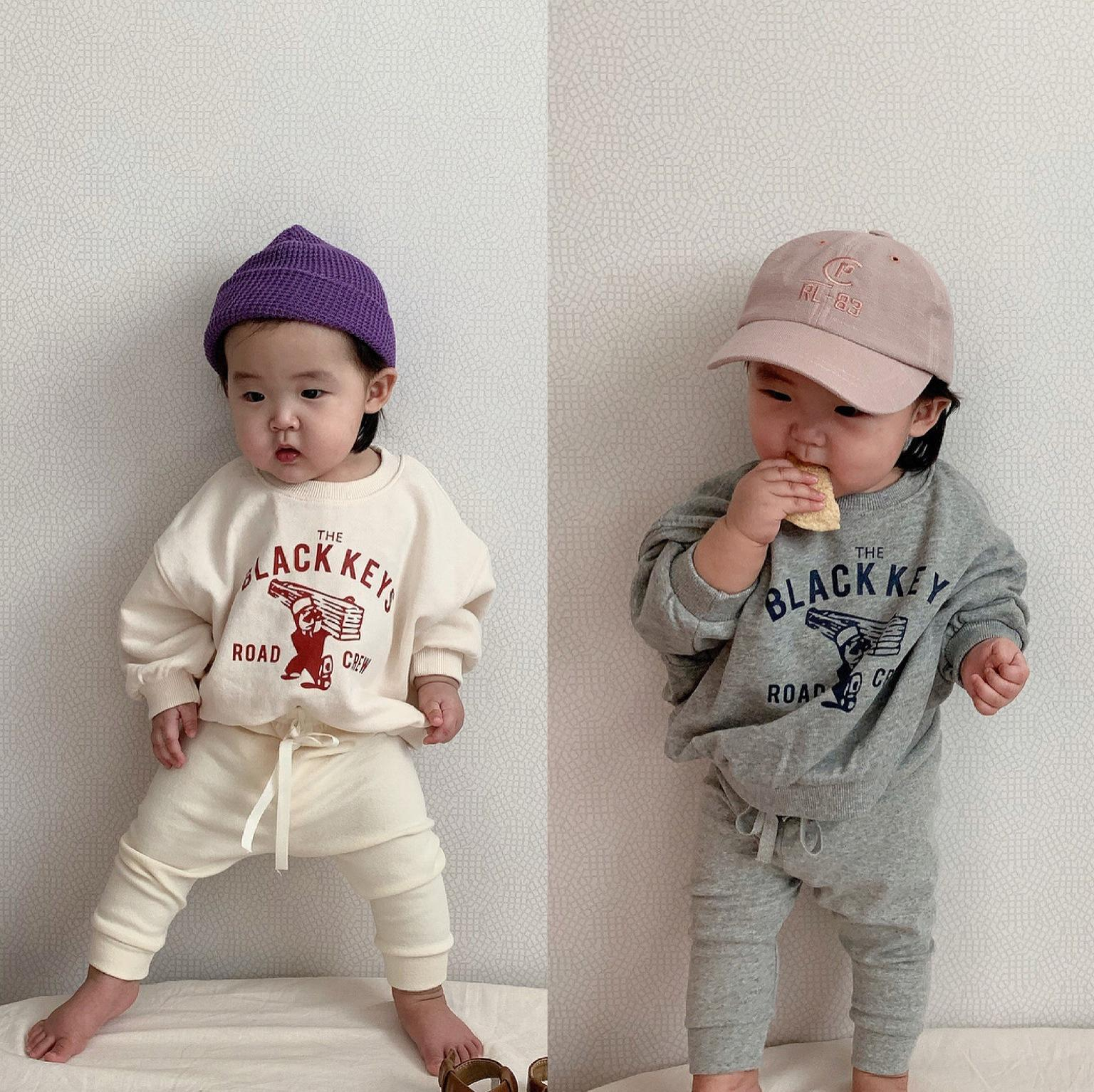 Newborn Baby Clothing Sets Boys Cartoon Long Sleeve Sweatshirt Tops Toddler Kids Girls Harem Pants Suit Children Clothes Set CY200515