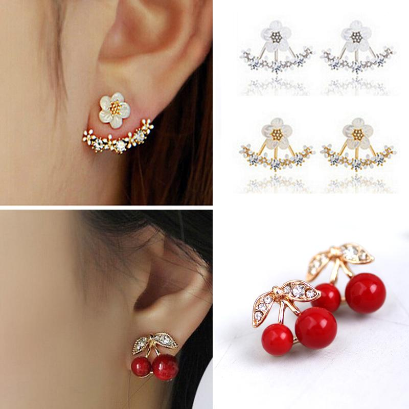Moda Fiore 2pair orecchini per i monili delle donne di cristallo del regalo per ragazze Elegante lusso di monili Orecchino
