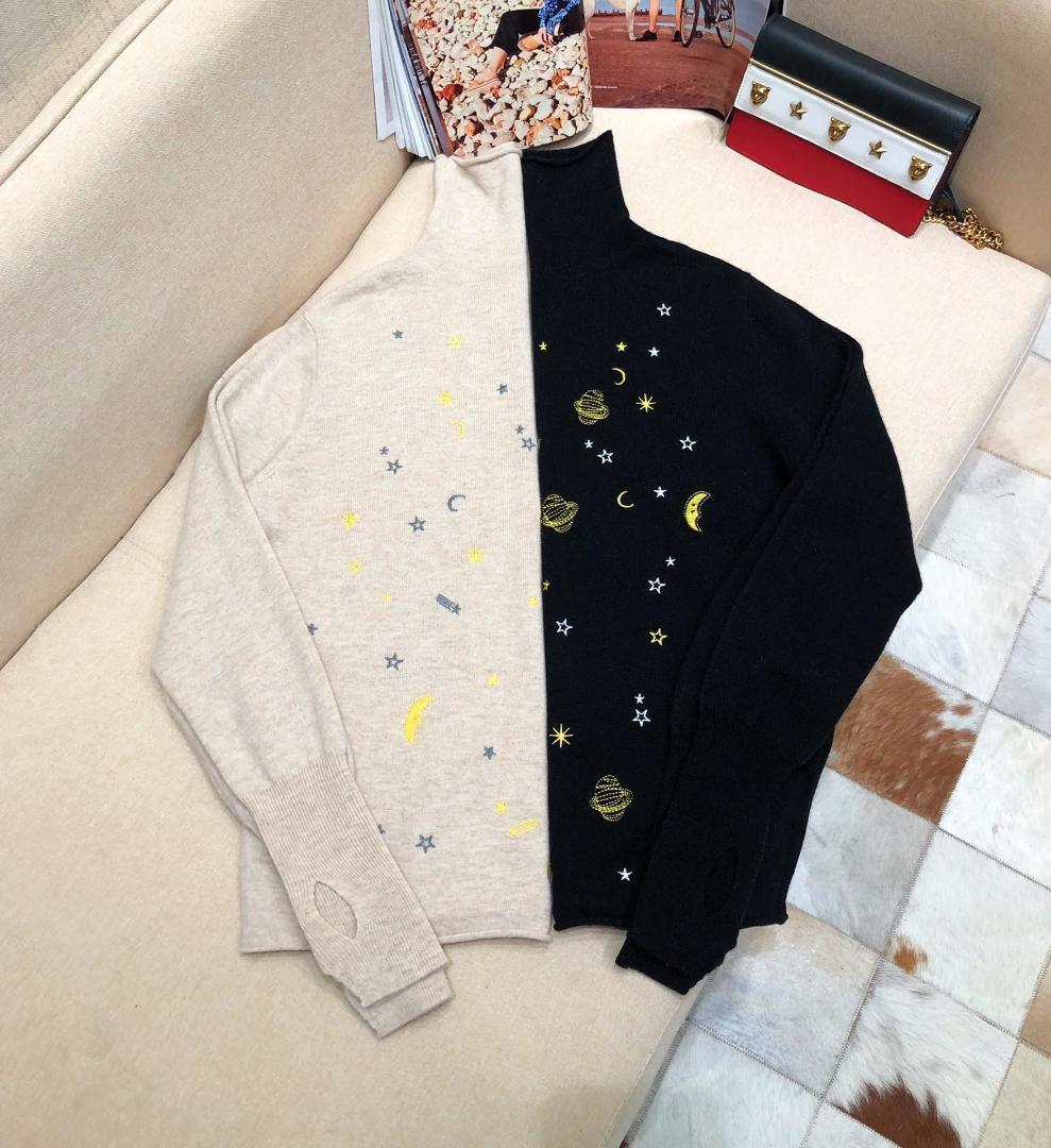 2019 nouvelles dames tricot mode casual sexy de manches longues col roulé chandail étoile broderie 1123