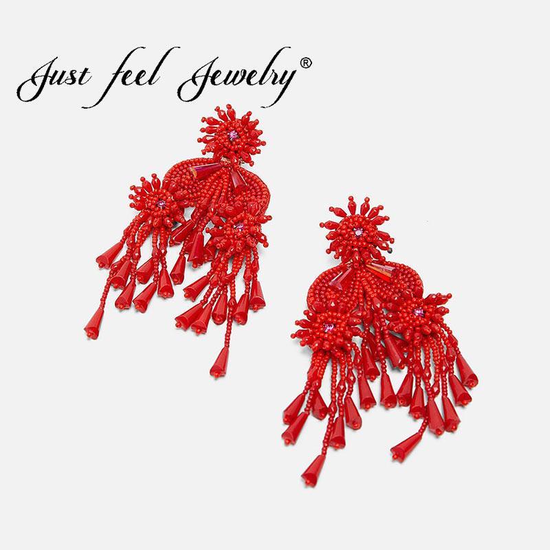 Просто почувствуйте Boho Fringe падение мотаться серьги для женщин Vintage Этнический себе очарование Большой красный кисточкой серьги Мода ювелирные изделия