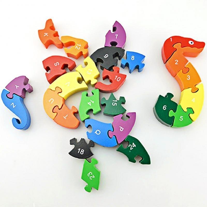 26 pièces en bois Toy serpent Jigsaw Puzzle Waldorf Montessori Jouets éducatifs Jouets Puzzle 3D