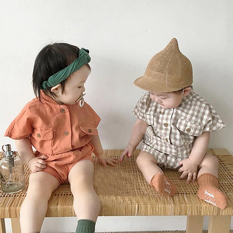 3640 Koreli Bebek Yaz Pamuk Casual Suit Kısa Kollu Ekose Gömlek tişört Ve Pp Şort İki Adet Set Erkekler Kızlar Giyim Takım Elbise T200526