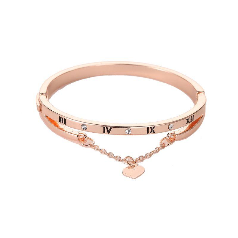 Women Roman Numeral Love Bracelets Alloy Bracelet Pave Silver Rose Gold Tone Charms Bangle Jewelry