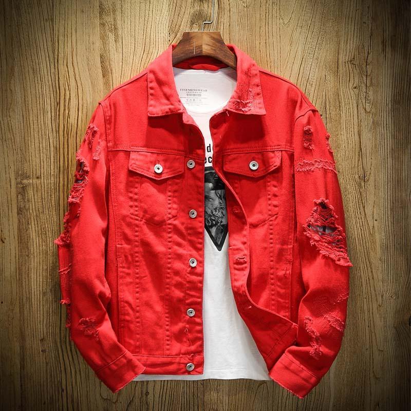 Осень новых людей Жан куртка Slim Fit Хлопок Джинсовая куртка Красный Белый Черный Ripped Hole Жан пальто Мужчины Ковбой молодежи Мужчины 5XL