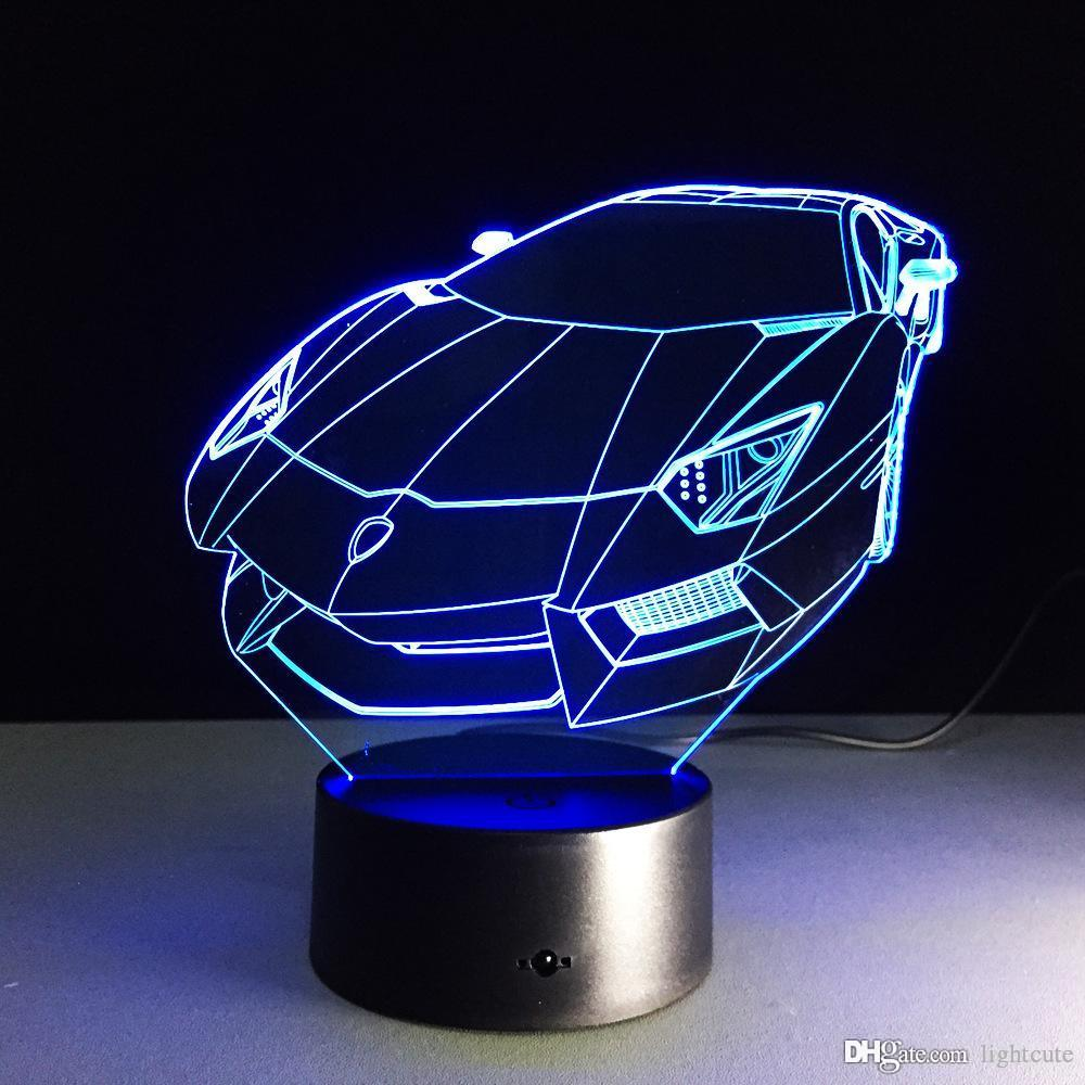 3D Table Lamp Colorful LED Nightlight Sport Car Model Touch Atmosphere Lamp for Car Fans Bedroom Decor Child Christmas Gift
