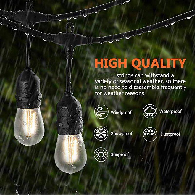 Водонепроницаемый 10M 10 светодиодных гирлянд Крытый Открытый коммерческого класса E26 E27 Садовой улице Патио Backyard праздник Струнный освещение