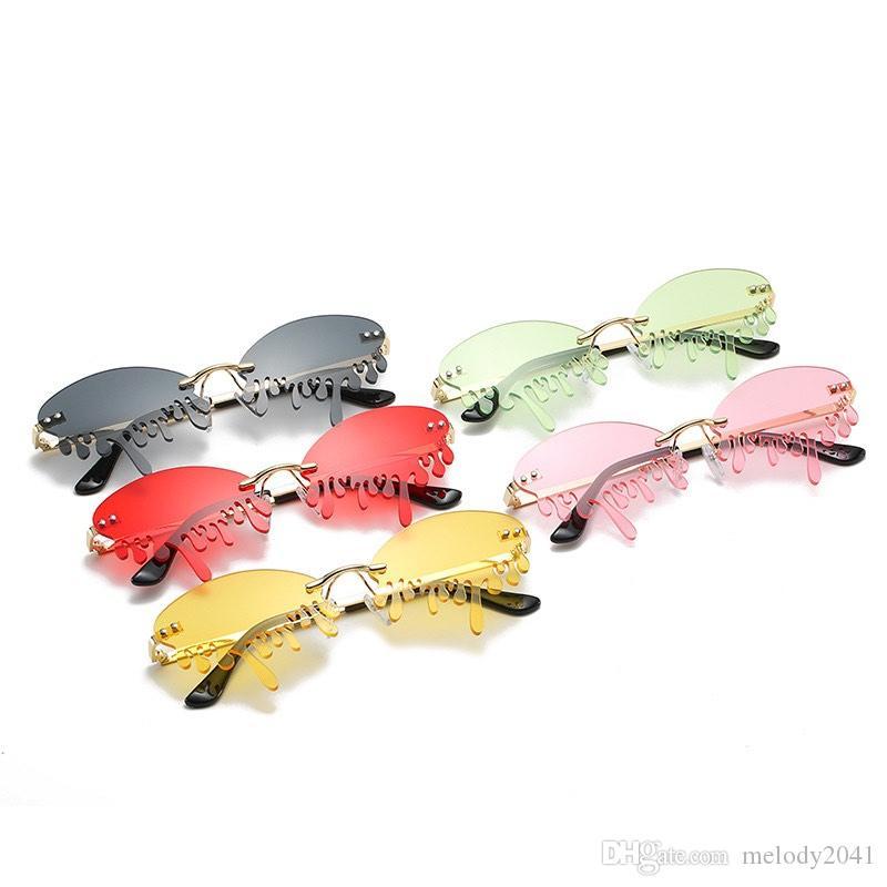 الأزياء الاتجاه مضحك النظارات الشمسية المرحلة المعوض الدموع نظارات الشمس بدون شفة ملون قطعة واحدة uv400 بالجملة