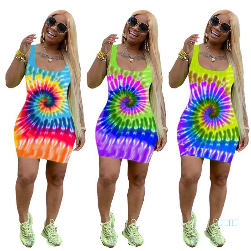 Summer Tie-Dye Printed Women's Short Skirts Sleeveless Sexy Braces Dresses Fashion Loose Dress Beach Casual Cloth Clubwear S-XL 2019 C72404