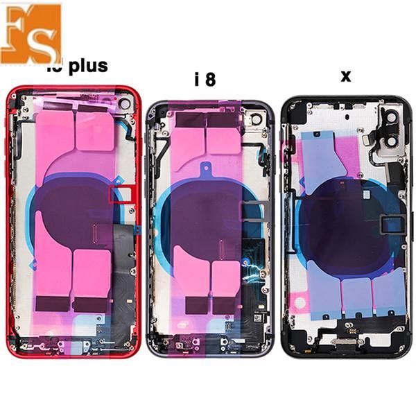 بالنسبة لقضية الإسكان الإطار غطاء فون XR XS XS ماكس البطارية الباب الخلفي الغطاء الخلفي + + الأوسط كاملة الكابلات المرنة أجزاء + سيم أجزاء بطاقة لفون X