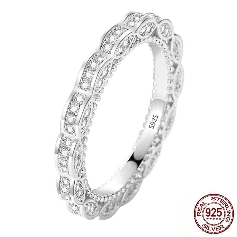 Vintage Baroque Fine Jewelry 100% 925 Sterling Silver Full White Clear CZ Zircon Women Wedding Bridal Ring Gift XR411