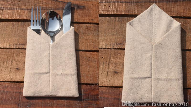 300 adet Çuval Çatal Çatal Tutucu Vintage Shabby Chic Jüt Sofra Kılıfı Ambalaj Çatal Bıçak Cep Düğün Dekorasyon