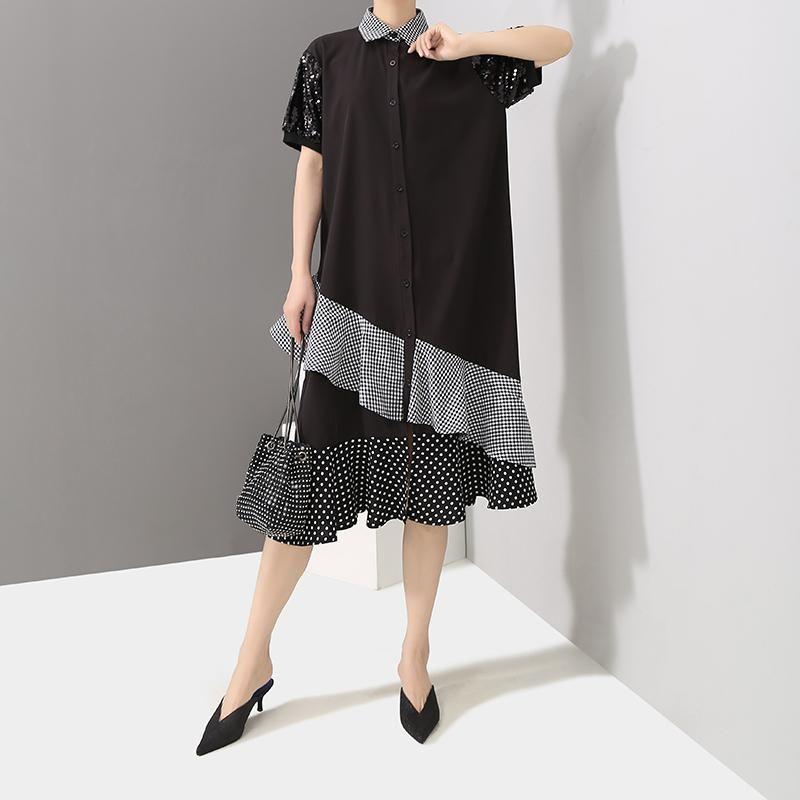 2019 Women Summer Black Midi Shirt Dress Sloping Ruffles Short Sleeve Sequined Female Stylish Party Club Dresses Robe Style F331
