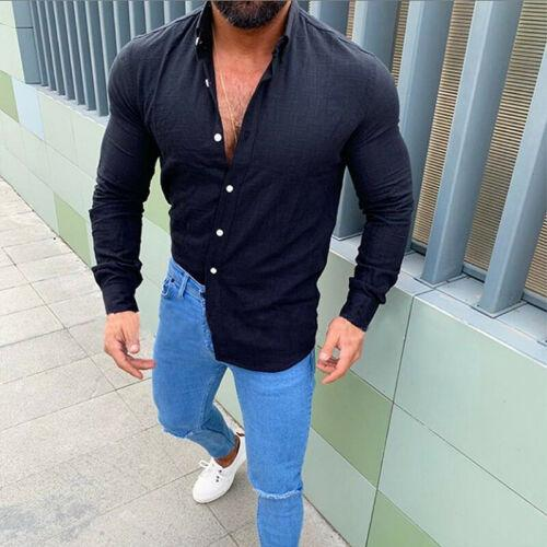 Men Summer Cotton Linen Slim Fit Long Sleeve Shirt Casual Solid Comfortable Beach Holiday Tops Shirts Blouse Clothes 2019 New