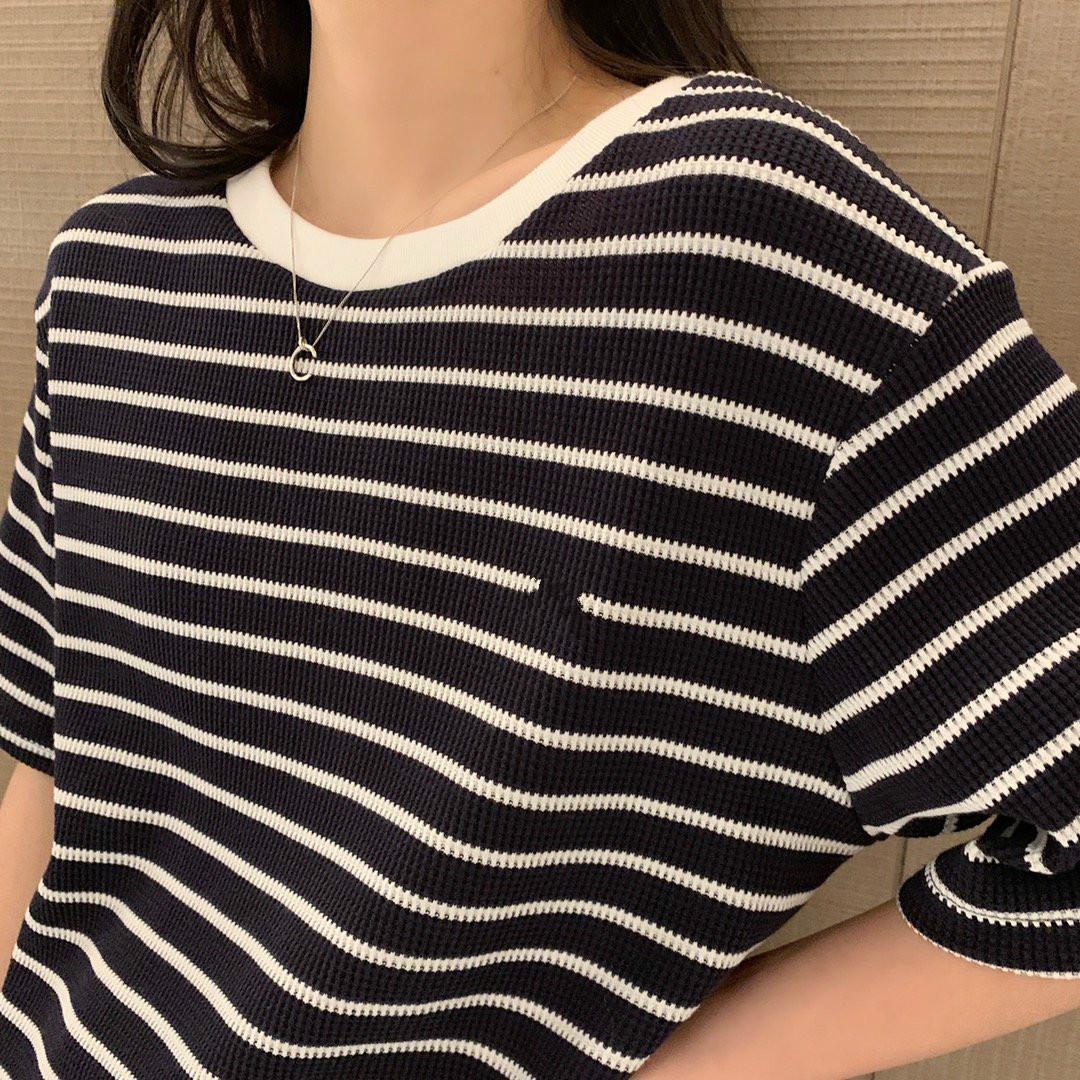 2020 Kadınlar Tasarımcı T Shirt Moda Marka Tees Çizgili Casual Tasarımcı Casual Kaliteli Yaz Kısa Kollu SL200507 Tops