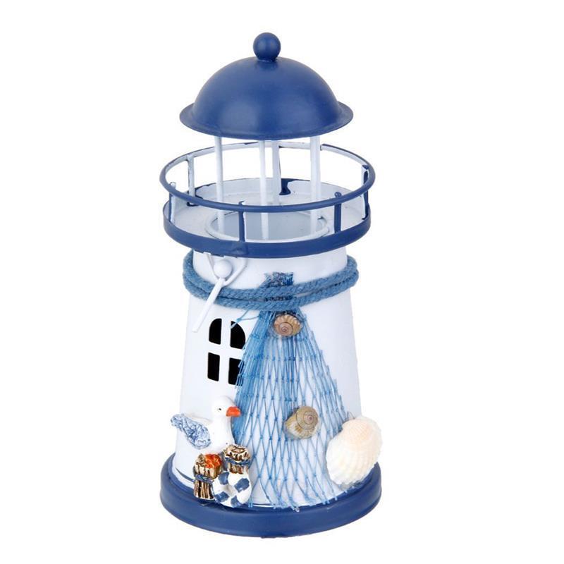 Miniature Lighthouse 13.5cm Hand Painted Lighthouse Iron Model Candle Holder Nautical Fish Net Shell Buoy Decor Narrow Model