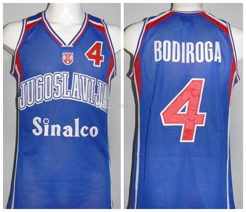 Dejan Bodiroga # 4 Team Jugoslavija Yougoslavie Yougoslavo Jersey Basketball rétro Mens Personnalisé Nom Nom Nom Jerseys