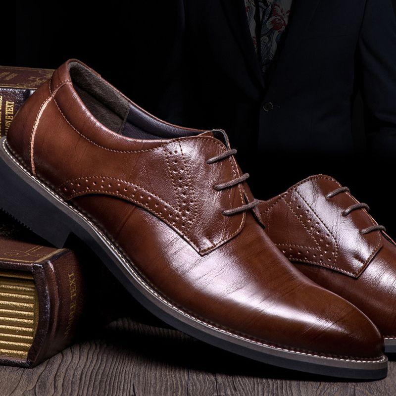 Hih Kalite Gerçek Deri Erkekler Broues Ayakkabı Dantel-up Bullock İş Elbise Erkekler Oxfords Ayakkabı Erkek Formal Ayakkabı Artı Size38-48