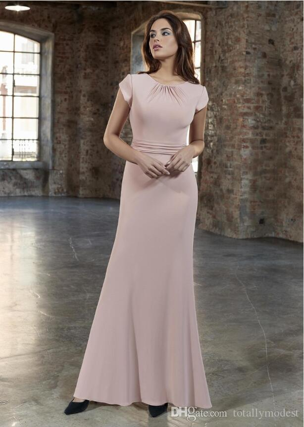 2019 New Dusty Pink Crepe Sheath Long Modest Bridesmaid Dresses With Cap Sleeves Floor Length Elegant Modest Maids of Honor Dress