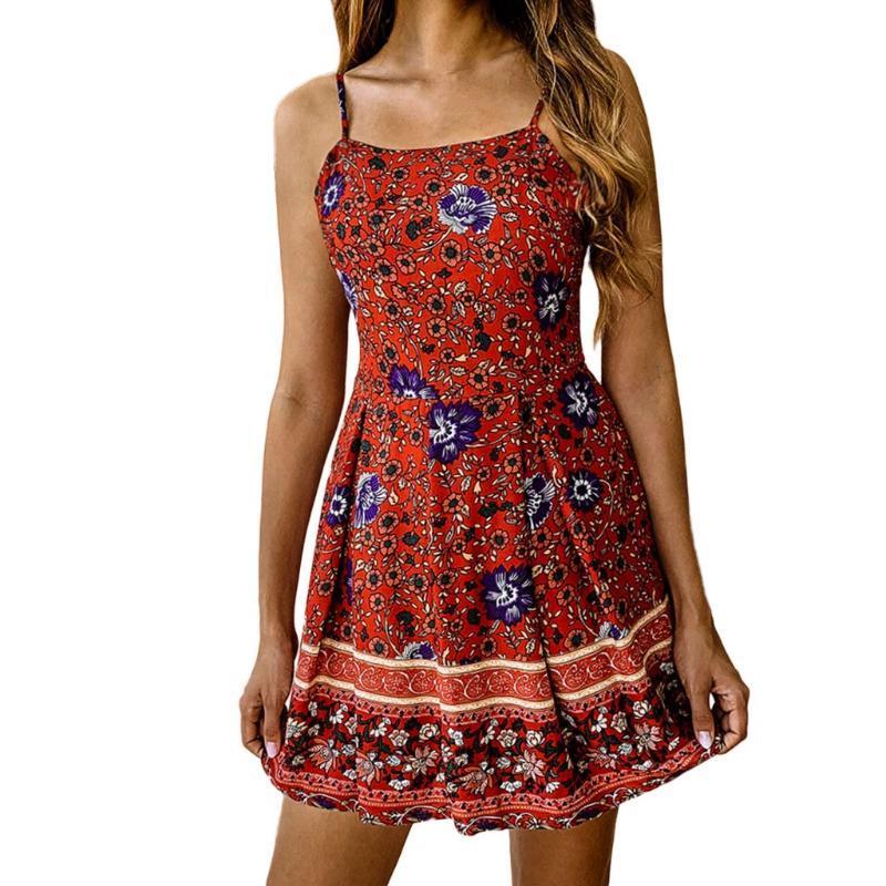 Summer Fashion Sling casuale delle donne della stampa floreale Tuta Backless increspato tuta Bohenian Beach tute Ropa Mujer