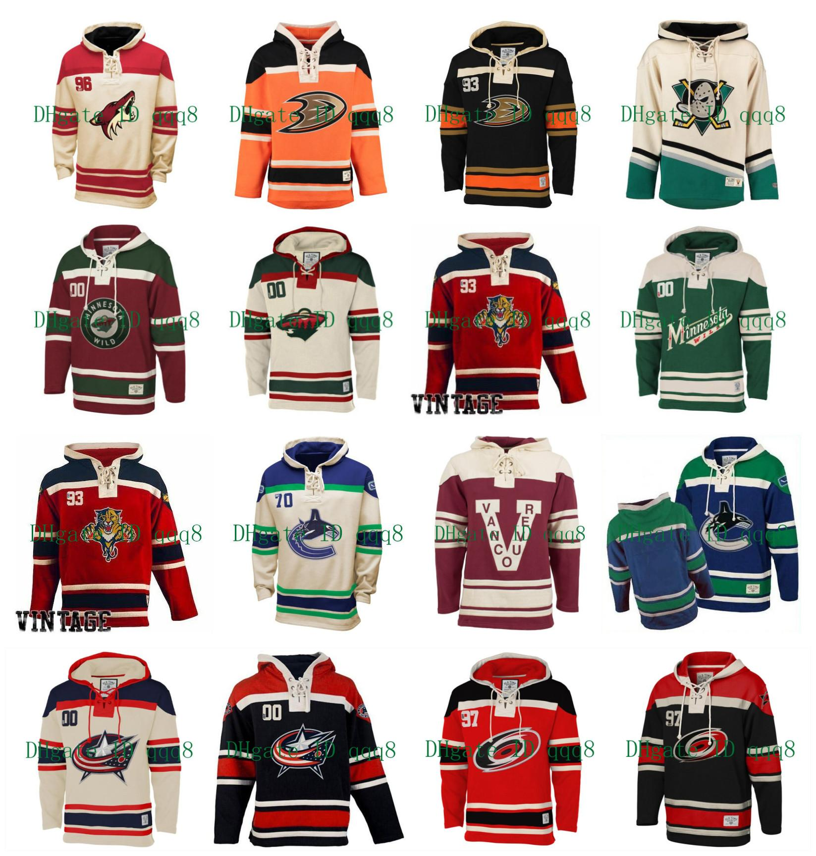 Anaheim Ducks con capucha Florida Panthers Phoenix Coyotes Carolina Hurricanes Vancouver Canucks Blue Jackets de antaño del hockey Jersey Pullover