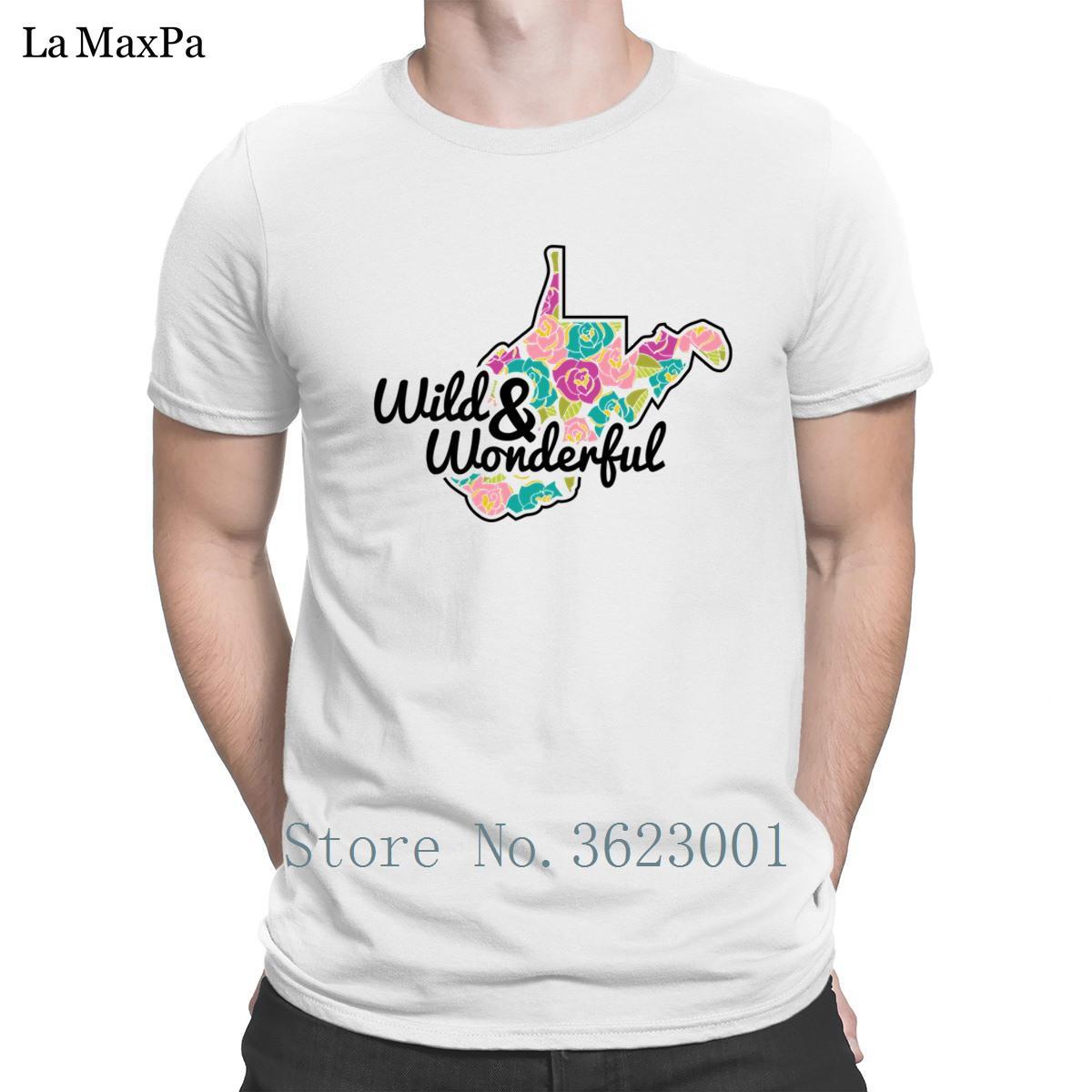 Casual T-shirts Funky manches courtes T-shirt de bas de drôle unique T-shirt Homme Homme Virginie-Occidentale sauvage Hommes merveilleux
