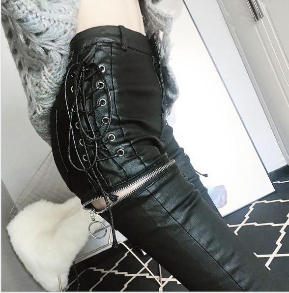 2020 İlkbahar Yeni Moda Bayan Tasarımcı Pantolon Seksi ince yapılı Bacaklar Deri Pantolon Sıkı Yüksek Bel Kalem Pantolon Yüksek Kalite Elbise Fermuar