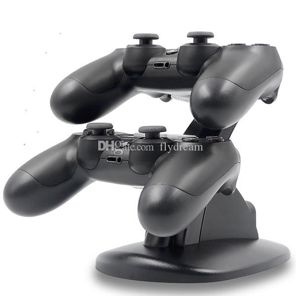 Carregador USB LED duplo Charger Doca Mount suporte para PlayStation PS4 Xbox Uma Gaming controlador sem fio Bluetooth Com Retail Box